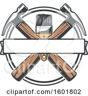 Poster, Art Print Of Round Frame With A Paintbrush And Crossed Hammers