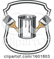 Clipart Of A Shield Frame With A Paint Can And Brushes Royalty Free Vector Illustration