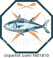 Clipart Of A Tuna And Paddles Octagon Royalty Free Vector Illustration