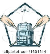 Clipart Of A Pentagon Frame With A Hook Backpack And Crossed Paddles Royalty Free Vector Illustration by Vector Tradition SM