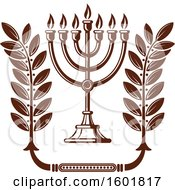 Clipart Of A Brown Menorah Royalty Free Vector Illustration