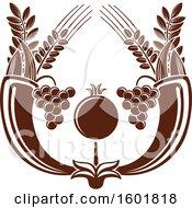 Brown Israel Pomegranate And Cornucopias