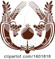 Clipart Of A Brown Israel Pomegranate And Cornucopias Royalty Free Vector Illustration by Vector Tradition SM