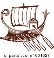 Clipart Of A Brown Ship Royalty Free Vector Illustration by Vector Tradition SM