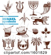 Clipart Of Brown Israel Symbols Royalty Free Vector Illustration