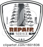 Repair Service Shield With A Screw Bolt And Wrenches