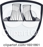 Clipart Of A Power Plant Shield Design Royalty Free Vector Illustration