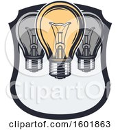 Clipart Of A Shield With Light Bulbs Royalty Free Vector Illustration by Vector Tradition SM