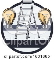 Poster, Art Print Of Round Frame With A Ladder And Light Bulbs