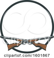 Clipart Of A Round Frame And Crossed Hunting Rifles Royalty Free Vector Illustration