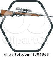 Clipart Of A Hunting Rifle And Hexagon Frame Royalty Free Vector Illustration