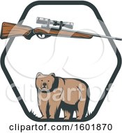 Clipart Of A Hunting Rifle And Bear In A Hexagon Frame Royalty Free Vector Illustration