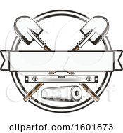 Clipart Of A Round Frame With Crossed Shovels And A Leveler With A Banner Royalty Free Vector Illustration