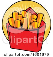 Clipart Of A Carton Of French Fries Royalty Free Vector Illustration by Vector Tradition SM