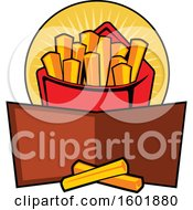 Clipart Of A Carton Of French Fries With A Banner Royalty Free Vector Illustration by Vector Tradition SM