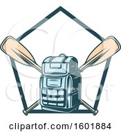 Clipart Of A Pentagon Frame With A Backpack And Crossed Paddles Royalty Free Vector Illustration