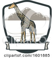 Poster, Art Print Of Giraffe And Landscape Shield With A Banner