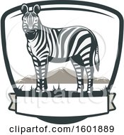 Poster, Art Print Of Zebra And Landscape In A Shield With A Banner