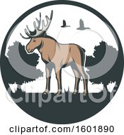 Clipart Of A Moose And Landscape Circle Royalty Free Vector Illustration by Vector Tradition SM