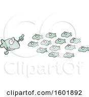 Clipart Of A Teacher And School Of Fish Royalty Free Vector Illustration