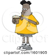 Cartoon Black Boy Eating A Cupcake