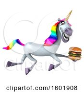 3d Unicorn Holding A Burger On A White Background