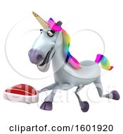 3d Unicorn Holding A Steak On A White Background