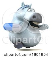 3d Chubby White Horse Holding A Pill On A White Background