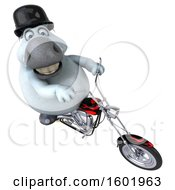 3d Chubby White Horse Biker Riding A Motorcycle On A White Background