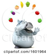 3d Chubby White Horse Juggling Produce On A White Background