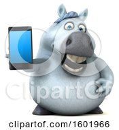 3d Chubby White Horse Holding A Smart Phone On A White Background