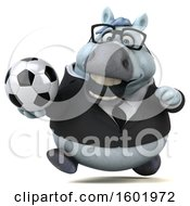 3d Chubby White Business Horse Holding A Soccer Ball On A White Background