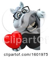 Poster, Art Print Of 3d Chubby White Business Horse Holding A Heart On A White Background
