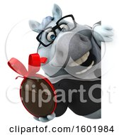 Clipart Of A 3d Chubby White Business Horse Holding A Chocolate Egg On A White Background Royalty Free Illustration