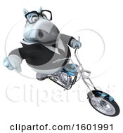3d Chubby White Business Horse Biker Riding A Motorcycle On A White Background