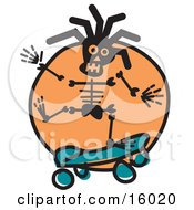 Skateboarding Skeleton Clipart Illustration