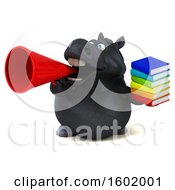 Clipart Of A 3d Chubby Black Horse Holding Books On A White Background Royalty Free Illustration