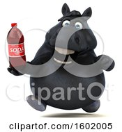 Clipart Of A 3d Chubby Black Horse Holding A Soda On A White Background Royalty Free Illustration