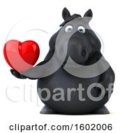 Clipart Of A 3d Chubby Black Horse Holding A Heart On A White Background Royalty Free Illustration