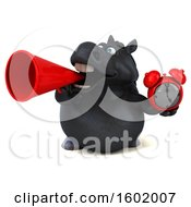 Clipart Of A 3d Chubby Black Horse Holding An Alarm Clock On A White Background Royalty Free Illustration
