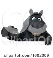 Clipart Of A 3d Chubby Black Horse Holding A Camera On A White Background Royalty Free Illustration
