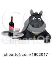 Clipart Of A 3d Chubby Black Horse Holding Wine On A White Background Royalty Free Illustration