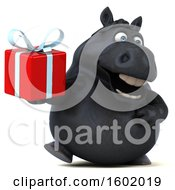 Clipart Of A 3d Chubby Black Horse Holding A Gift On A White Background Royalty Free Illustration