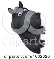 Clipart Of A 3d Chubby Black Horse Looking Around A Sign On A White Background Royalty Free Illustration
