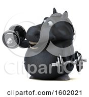 Clipart Of A 3d Chubby Black Horse Working Out With Dumbbells On A White Background Royalty Free Illustration