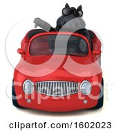 Clipart Of A 3d Chubby Black Horse Driving A Convertible On A White Background Royalty Free Illustration