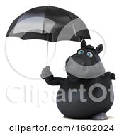 Clipart Of A 3d Chubby Black Horse Holding An Umbrella On A White Background Royalty Free Illustration