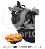 Clipart Of A 3d Chubby Black Business Horse Holding A Hot Dog On A White Background Royalty Free Illustration