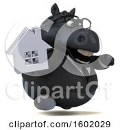 Clipart Of A 3d Chubby Black Business Horse Holding A House On A White Background Royalty Free Illustration