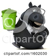 Clipart Of A 3d Chubby Black Business Horse Holding A Recycle Bin On A White Background Royalty Free Illustration